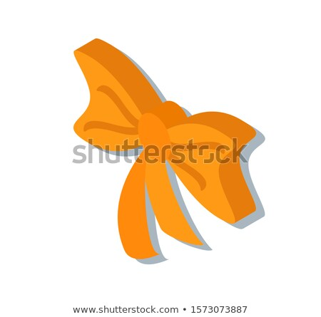 Ribbon Tied Curled Bow Isolated 3D Icon in Color Stock photo © robuart