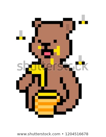 Honey Bee 8 Bit Pixel Game Art Cartoon Character Stock photo © Krisdog