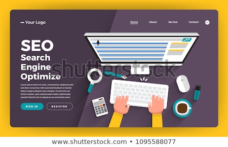 Flat isometric vector concept of search engine ranking, web analytics. Stock photo © TarikVision