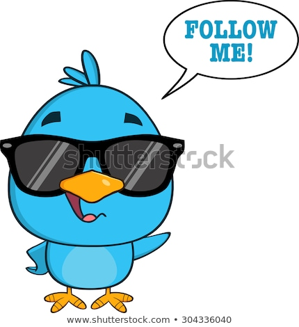 Cute Blue Bird With Sunglasses Cartoon Character Waving With Speech Bubble And Text Stock photo © hittoon