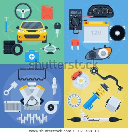 Vector Car Dashboard with Spare Parts Stock photo © dashadima