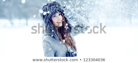 Stockfoto: Happy Woman With Snow In Winter Fur Hat Outdoors