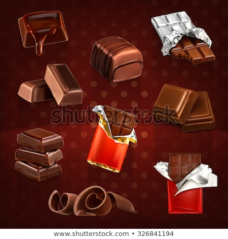 Chocolate bar in opened red wrapped and foil Stock photo © MarySan