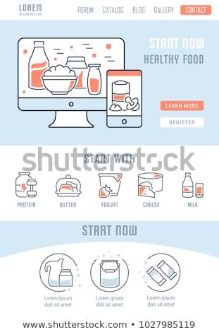 peynir · yoğurt · çocuk · içme · süt - stok fotoğraf © rastudio