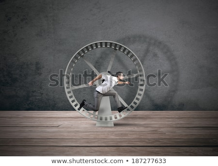 Homme d'affaires hamster roue stress courir Photo stock © Krisdog