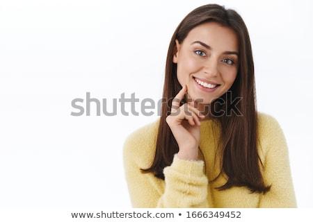 портрет счастливым удовлетворенный красивой брюнетка Сток-фото © dmitriisimakov