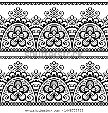 Alencon French seamless lace vector pattern, openwork ornament textile or embroidery design in black Stock photo © RedKoala