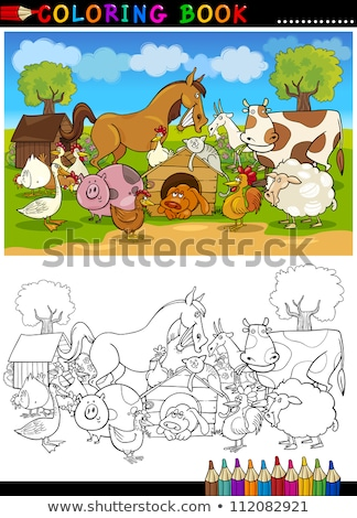 hens and roosters characters group color book Stock photo © izakowski