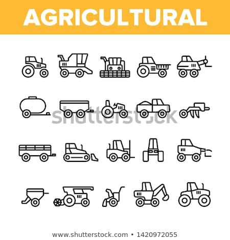 farming cultivator trailer vector thin line icon stock photo © pikepicture