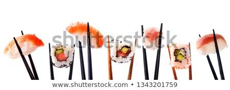 egzotikus · étel · szusi · lány · vonzó · japán - stock fotó © netkov1