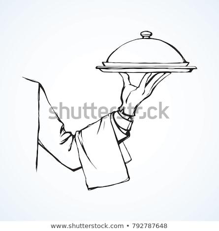 Waitress and Waiter with Trays Vector Illustration Stock photo © robuart