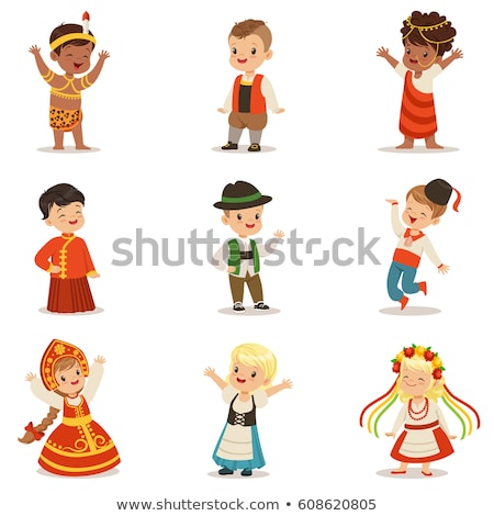 Kid Boy National Costume Russian Illustration Stock photo © lenm
