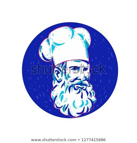 Сток-фото: сердиться · бородатый · повар · круга · болван · искусства