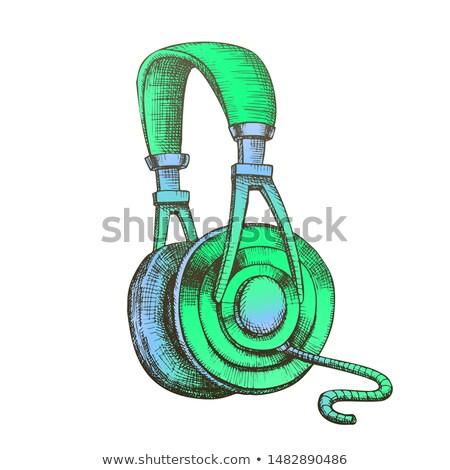 Szín hallgat audio berendezés kábel fejhallgató Stock fotó © pikepicture