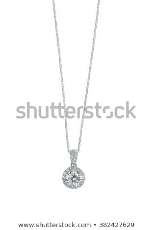 Mooie diamant halo witte goud keten Stockfoto © serdechny