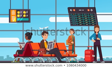 tourists with luggage standing in airport vector stock photo © robuart