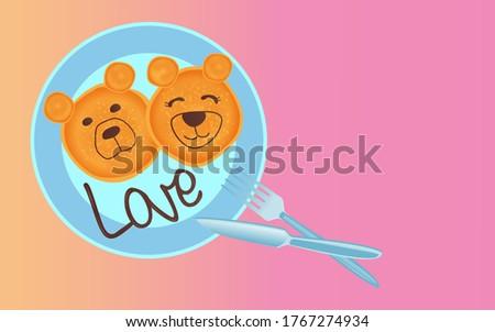 chocolade · pannenkoek · puppies · witte · plaat · tabel - stockfoto © alex9500