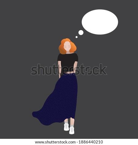 red haired teenage girl holding speech bubble Stock photo © dolgachov