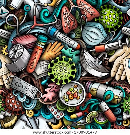 Cartoon cute garabatos dibujado a mano epidemia Foto stock © balabolka