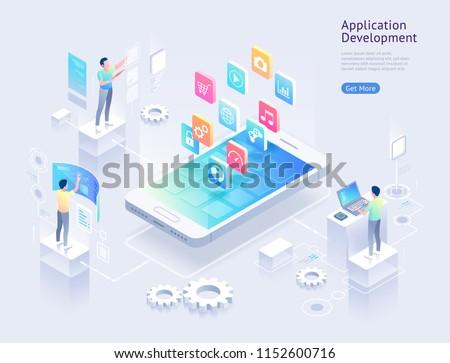 Mobil alkalmazás fejlesztés okostelefon interfész épület Stock fotó © natali_brill