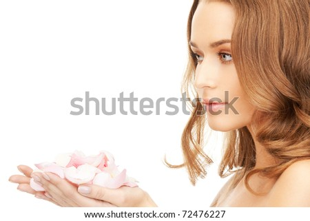 picture of smiling woman with rose Stock photo © dolgachov