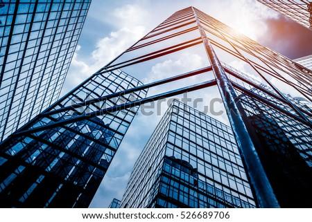 Prédio comercial vidro parede janela quarto azul Foto stock © leungchopan
