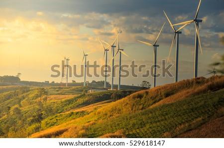 Eco power, wind turbines and sky Stock photo © FrameAngel