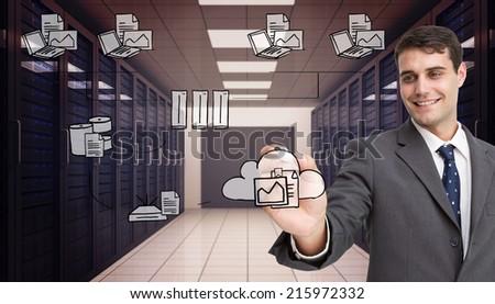 Empresário escrever algo isolado branco negócio Foto stock © hin255