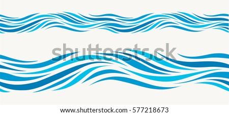 синий · волновая · картина · бесшовный · волнистый · простой · текстуры - Сток-фото © orensila
