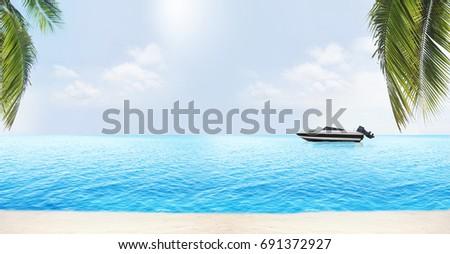 Palmbladeren strand lichtblauw water hemel zomer Stockfoto © Wetzkaz