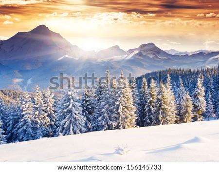 Kış manzara kaya dağlar bulutlu gün Stok fotoğraf © Kotenko
