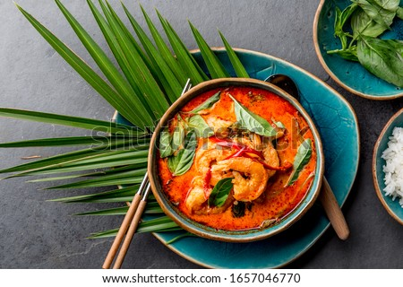 Foto stock: Thai · vermelho · caril · vegetal · comida · jantar