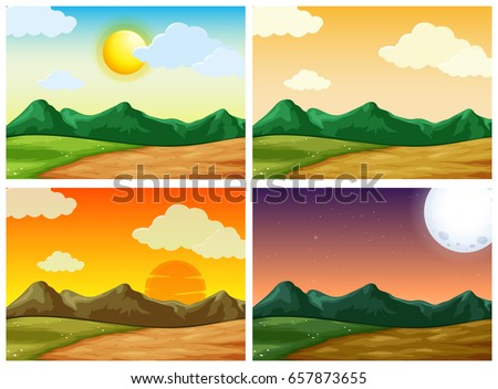 Four countryside scenes at different time of day Stock photo © colematt