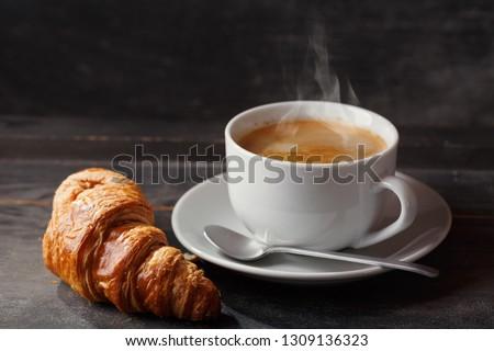 Café croissant comida pão café da manhã copo Foto stock © M-studio