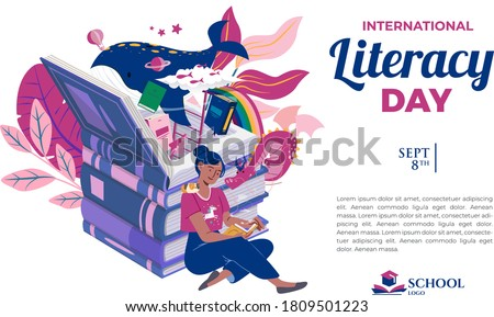 Internacional escolas cartaz projeto menina livros Foto stock © colematt
