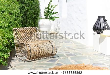 Vízszintes kilátás fonott bútor növények nyár Stock fotó © dashapetrenko