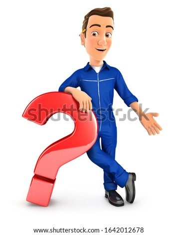3d mechanic leaning against question mark Stock photo © 3dmask