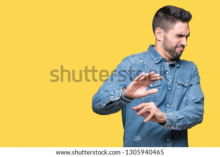 People, emotions and reaction concept. Handsome bearded guy in trendy eyewear, has pleased expressio Stock photo © vkstudio