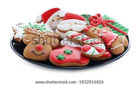 Stockfoto: Christmas · cookies · plaat · bruin · klein · gouden