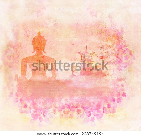 Silhouette of a Buddha,Asian landscape in grunge texture  Stock photo © JackyBrown