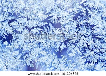 Beautiful Frosty Natural Pattern On Window Glass Stok fotoğraf © Sailorr