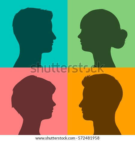 Four silhouettes of heads on colored background Stock photo © adrian_n
