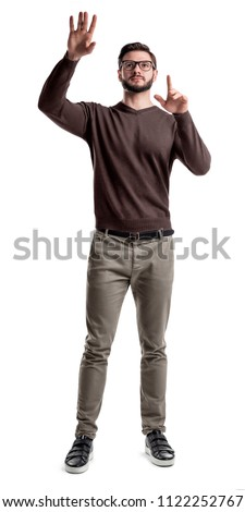Man pretending to touch an invisible screen Stock photo © wavebreak_media