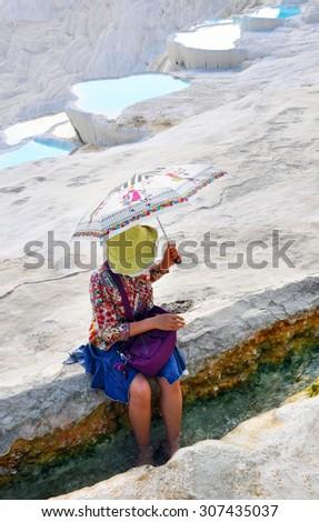 Tourist woman model in swimsuit in Pamukkale, Turkey Stock photo © artfotodima
