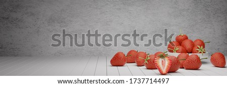 Organic red strawberries in white ceramic cup on rustic wooden b Stock photo © marylooo