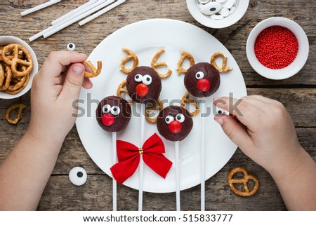 Homemade christmas elk-shaped cookies with christmas decoration. Stock photo © Melnyk