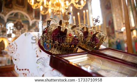 Orthodox wedding crowns, church icons, church books, gospel Stock photo © Len44ik