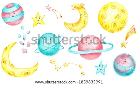 Cartoon saturn planet icon with cute face on white Stock photo © evgeny89