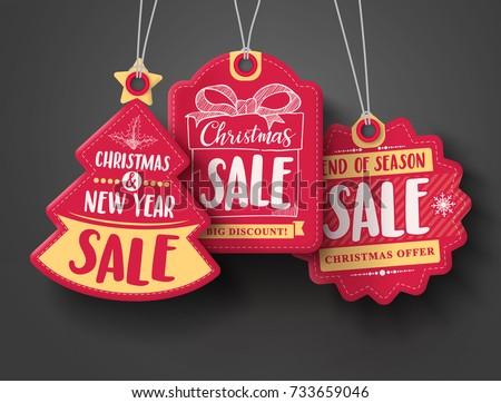 Set of Christmas Gift Tags / Sale Tags Stock photo © jamdesign