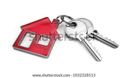 Yalıtılmış kırmızı anahtar beyaz gayrimenkul güvenlik Stok fotoğraf © eldadcarin